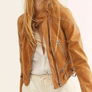 FREE PEOPLE Tan Fenix Vegan Leather Moto Jacket